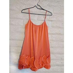 BCBG MAXAZRIA | orange fan dress satin & silk